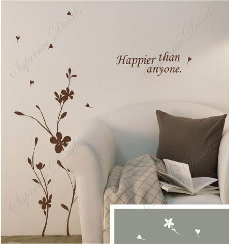Custom PopDecals - Flowers make you happier - Beautiful Tree Wall Decals for Kids Rooms Teen Girls Boys Wallpaper Murals Sticker Wall Stickers Nursery Decor Nursery Decals