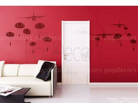 PopDecors - Paratrooper and Airplanes - Beautiful Tree Wall Decals for Kids Rooms Teen Girls Boys Wallpaper Murals Sticker Wall Stickers Nursery Decor Nursery Decals PT-0101 - PopDecors,Baby Product, Pop Decors, PopDecors