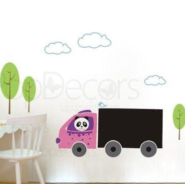 Chalkboard Decal - Panda Drives Truck - Wall Decals - PopDecors,Baby Product, Pop Decors, PopDecors