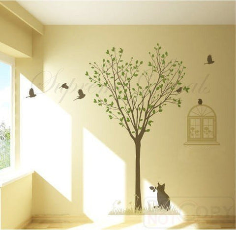 Custom PopDecals - Tree and cat - 78 in H with no window - Beautiful Tree Wall Decals for Kids Rooms Teen Girls Boys Wallpaper Murals Sticker Wall Stickers Nursery Decor Nursery Decals - PopDecors,Home, PopDecals, PopDecors