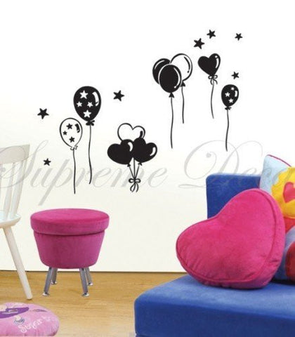 Custom PopDecals - Party Balloons - Beautiful Tree Wall Decals for Kids Rooms Teen Girls Boys Wallpaper Murals Sticker Wall Stickers Nursery Decor Nursery Decals