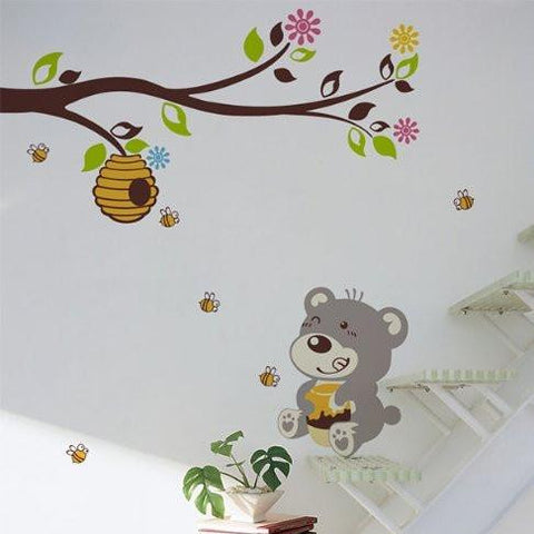PopDecors - Bear Loves Honey - Kids Wall Decals Children Animal Wall Sticker Bees Vinyl Decal Beehive Wall Sticker Kids Must Have Wall Arts