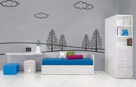 Custom PopDecals - Huge(118 in W)Peaceful Forest - Beautiful Tree Wall Decals for Kids Rooms Teen Girls Boys Wallpaper Murals Sticker Wall Stickers Nursery Decor Nursery Decals