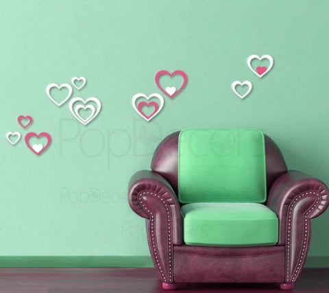 Pop Decors Laser Cut and Engraving for Store Signs - 3D Plexiglass Acrylic Wall Decors-3 Sets of Hearts - Popdecors Modern Wall Decors Home Interior 3D Wall Decors