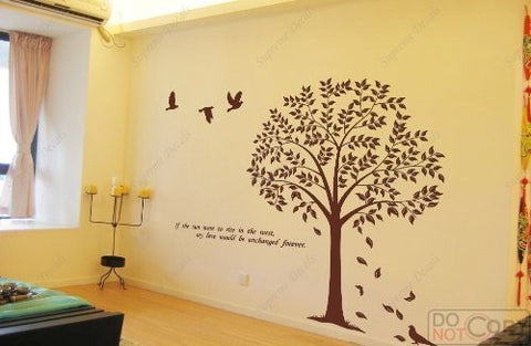 Custom PopDecals - Linden Tree (71 in, big size) - Beautiful Tree Wall Decals for Kids Rooms Teen Girls Boys Wallpaper Murals Sticker Wall Stickers Nursery Decor Nursery Decals