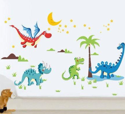 PopDecors Repositionable Boys Printed Wall Decals Kids Wall Stickers Child Playroom Wall Decors Kids Stickers- Dinosaurs World Wall Stickers