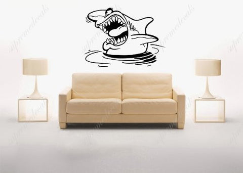 Custom Color PopDecals - Big shark - removable vinyl art wall decals murals home decor