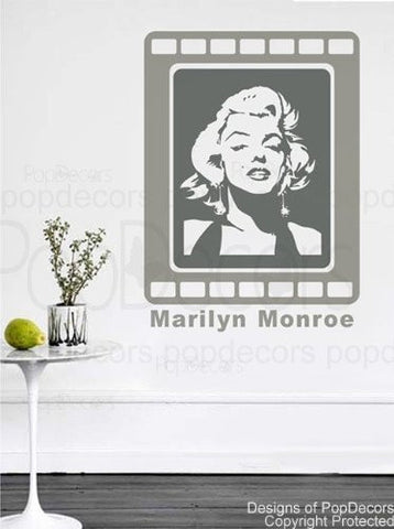 PopDecors - Marilyn Monroe Wall Decals- 43 inch H - Beautiful Wall Decals for Kids Rooms Teen Girls Boys Wallpaper Murals Sticker Wall Stickers Nursery Decor Nursery Decals