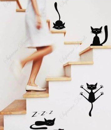 Funny Cats Set of 4 in Black- Beautiful Tree Wall Decals for Kids Rooms Teen Girls Boys Wallpaper Murals Sticker Wall Stickers Nursery Decor Nursery Decals