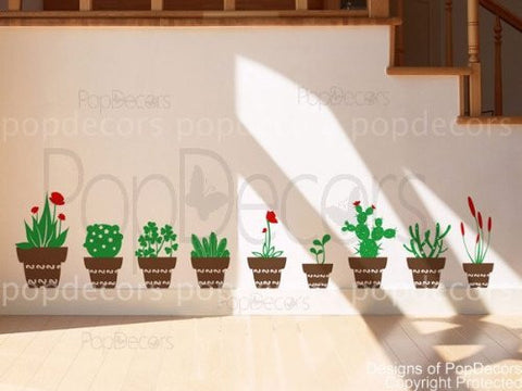 Flower Pots Wall Decals