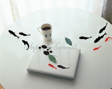 Custom Color PopDecals - Wall decal - Black and Red Fish - Wall Art Home Decors Murals Removable Vinyl Decals Paper Stickers