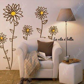 Custom PopDecals - Daisy flowers - 55 in tall - Beautiful Tree Wall Decals for Kids Rooms Teen Girls Boys Wallpaper Murals Sticker Wall Stickers Nursery Decor Nursery Decals - PopDecors,Baby Product, PopDecals, PopDecors