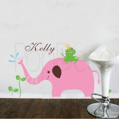 Popdecors elephant frog with personalized name custom beautiful tree wall decals for kids
