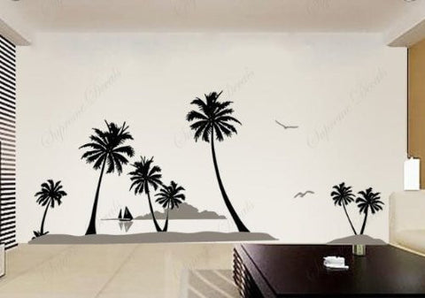 Custom PopDecals - Coconut Trees and Islands - Beautiful Tree Wall Decals for Kids Rooms Teen Girls Boys Wallpaper Murals Sticker Wall Stickers Nursery Decor Nursery Decals