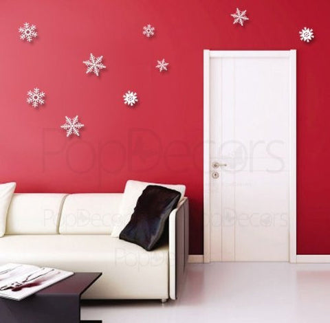 Pop Decors Custom Laser Cut and Engraving - 3D Plexiglass Acrylic Wall Decors- Set of 9 Snowflakes - Popdecors Office Wall Art Home Interior Decors Idea