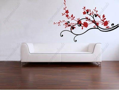 Custom Color PopDecals - Flourishing red flowers - Removable vinyl art wall decals stickers murals home decor - PopDecors,Baby Product, PopDecals, PopDecors