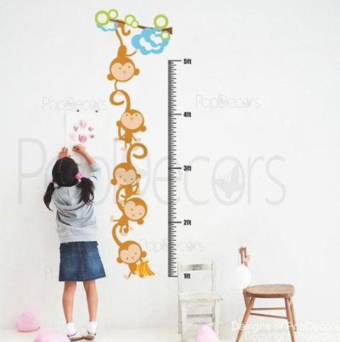 PopDecors - Monkeys Growth Chart - Custom Beautiful Tree Wall Decals for Kids Rooms Teen Girls Boys Wallpaper Murals Sticker Wall Stickers Nursery Decor Nursery Decals - PopDecors,Home, Pop Decors, PopDecors