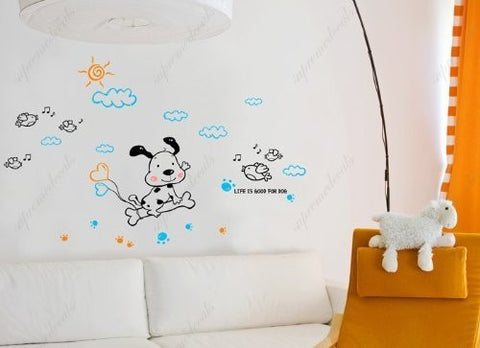 Custom PopDecals - Life is good for dog - playful and fun - Beautiful Tree Wall Decals for Kids Rooms Teen Girls Boys Wallpaper Murals Sticker Wall Stickers Nursery Decor Nursery Decals
