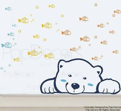 PopDecors Wall Decals & Stickers - Bear's Dream - Kids Bedroom Decals Fish Wallpapers Children Bedroom Vinyl Stickers