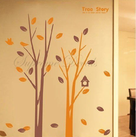 Custom PopDecals - Tree story(small size) - Beautiful Tree Wall Decals for Kids Rooms Teen Girls Boys Wallpaper Murals Sticker Wall Stickers Nursery Decor Nursery Decals - PopDecors,Home, PopDecals, PopDecors