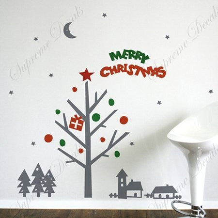 Custom PopDecals - Christmas is coming - Beautiful Tree Wall Decals for Kids Rooms Teen Girls Boys Wallpaper Murals Sticker Wall Stickers Nursery Decor Nursery Decals - PopDecors,Home, PopDecals, PopDecors
