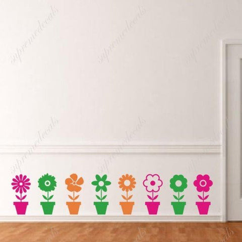 Custom PopDecals - ful flower pots - Beautiful Tree Wall Decals for Kids Rooms Teen Girls Boys Wallpaper Murals Sticker Wall Stickers Nursery Decor Nursery Decals
