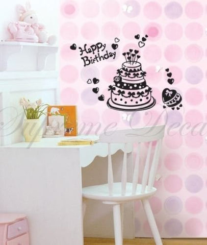 Custom PopDecals - Happy Birthday Cake - Beautiful Tree Wall Decals for Kids Rooms Teen Girls Boys Wallpaper Murals Sticker Wall Stickers Nursery Decor Nursery Decals - PopDecors,Baby Product, PopDecals, PopDecors