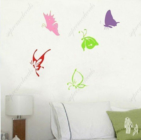 Custom Color PopDecals - Colorful butterflies - nursery wall decals tree vinyl wall art wall decor sticker wall vinyl stickers pop baby gift idea