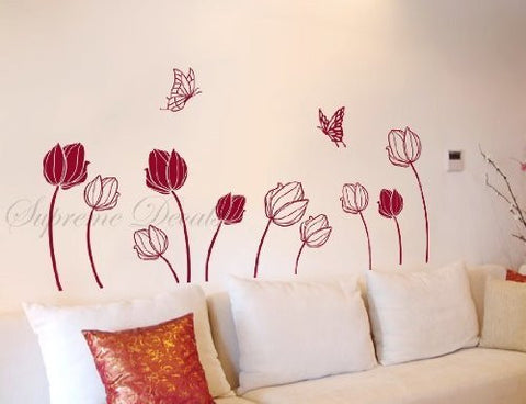 Custom PopDecals - Butterflies catch Tulips - Beautiful Tree Wall Decals for Kids Rooms Teen Girls Boys Wallpaper Murals Sticker Wall Stickers Nursery Decor Nursery Decals
