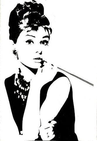 Custom PopDecals - Audrey Hepburn 40 in - Beautiful Tree Wall Decals for Kids Rooms Teen Girls Boys Wallpaper Murals Sticker Wall Stickers Nursery Decor Nursery Decals