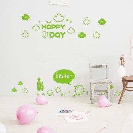 Custom PopDecals - Happy Day - Beautiful Tree Wall Decals for Kids Rooms Teen Girls Boys Wallpaper Murals Sticker Wall Stickers Nursery Decor Nursery Decals