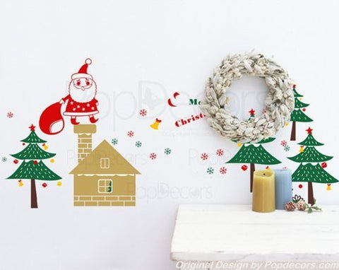 PopDecors Wall Decals & Stickers - Christmas Decal - Santa is coming - Holiday Vinyl Wall Santa Decal Trees Stickers