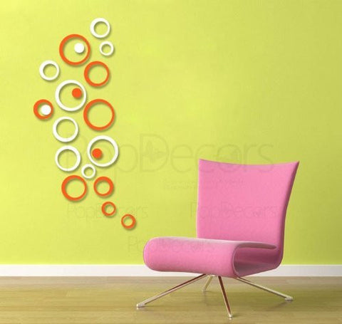 Pop Decors Laser Cut and Engraving for Store Signs - 3D Plexiglass Acrylic Wall Decors-4 Sets of Circles - Popdecors Business Wall Decors Home Interior 3D Wall Decors