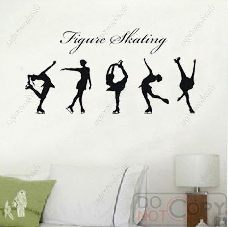 Custom Color PopDecals - Figure skating - Removable vinyl art wall decals stickers murals home decor