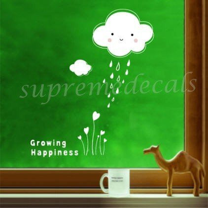 Custom PopDecals - Growing happiness - Beautiful Tree Wall Decals for Kids Rooms Teen Girls Boys Wallpaper Murals Sticker Wall Stickers Nursery Decor Nursery Decals