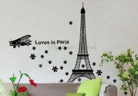Custom PopDecals - Eiffel tower (Loves in paris) 50 in - Beautiful Tree Wall Decals for Kids Rooms Teen Girls Boys Wallpaper Murals Sticker Wall Stickers Nursery Decor Nursery Decals