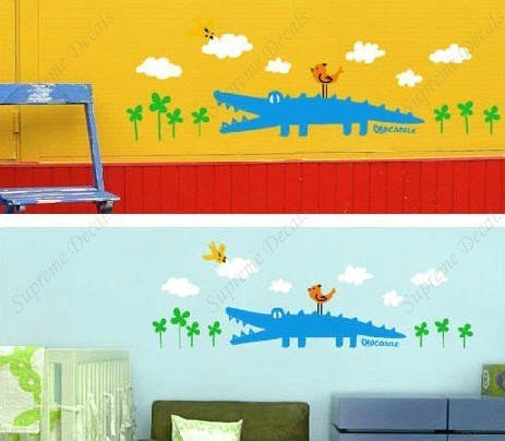 Custom PopDecals - Crocodile and Birds - Beautiful Tree Wall Decals for Kids Rooms Teen Girls Boys Wallpaper Murals Sticker Wall Stickers Nursery Decor Nursery Decals