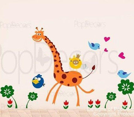 "PopDecors - Cute Giraffe - 60"" H - Custom Beautiful Tree Wall Decals for Kids Rooms Teen Girls Boys Wallpaper Murals Sticker Wall Stickers Nursery Decor Nursery Decals - PopDecors,Baby Product, Pop Decors, PopDecors"