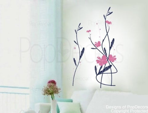 PopDecors - Hibiscus Flower decal - (31.5 inch H) - Custom Beautiful Tree Wall Decals for Kids Rooms Teen Girls Boys Wallpaper Murals Sticker Wall Stickers Nursery Decor Nursery Decals