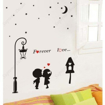 Custom Color PopDecals - Forever Love - removable vinyl art wall decals for home decor