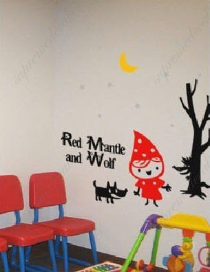 Custom PopDecals - Red Mantle and Wolf - Beautiful Tree Wall Decals for Kids Rooms Teen Girls Boys Wallpaper Murals Sticker Wall Stickers Nursery Decor Nursery Decals