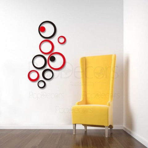 Pop Decors Laser Cut and Engraving for Store Signs - 3D Plexiglass Acrylic Wall Decors-2 Sets of Circles - Popdecors Business Wall Decors Home Interior 3D Wall Decors