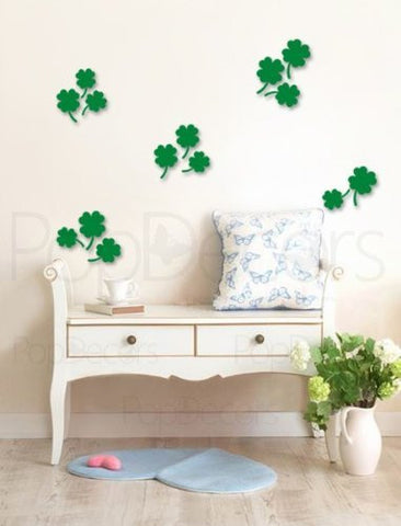 Pop Decors Laser Cut and Engraving for Store Signs - 3D Plexiglass Acrylic Wall Decors- 14 Four Leaf Clovers - Popdecors Modern Wall Decors Home Interior 3D Wall Decors