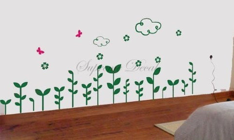 Custom Color PopDecals - Clouds and Grass - Wall Art Home Decors Murals Removable Vinyl Decals Paper Stickers