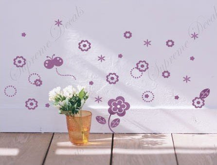Custom Color PopDecals - Butterfly and little flowers - removable vinyl art wall decals murals home decor