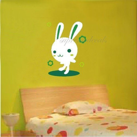 Custom PopDecals - Miss bunny - kids room - Beautiful Tree Wall Decals for Kids Rooms Teen Girls Boys Wallpaper Murals Sticker Wall Stickers Nursery Decor Nursery Decals