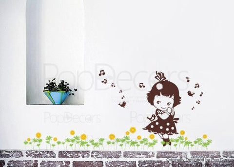 "PopDecors Wall Decals & Stickers - Lovely Little Girl (85""W) - Girl's Bedroom Wall Decal Playroom Kids Wall Art - PopDecors,Baby Product, Pop Decors, PopDecors"