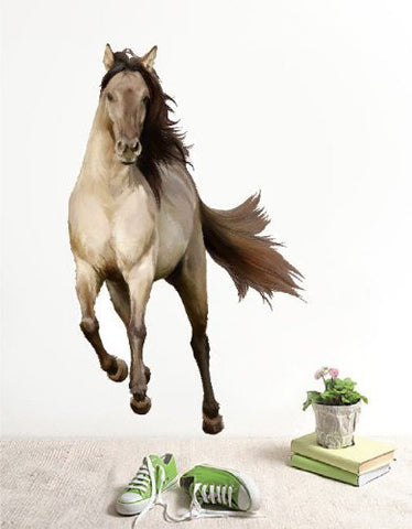 PopDecors Repositionable Fabric Horse Wall Sticker Living Room Printed Wall Decals - Running Horse - 2014 Horse Year Wall Decors Removable Wall Arts