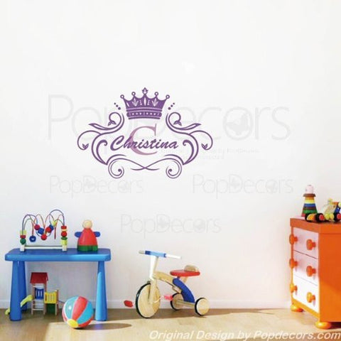 PopDecors Wall Decals & Stickers - Princess Crown Personalized Name Decal - Monogram Girls Baby Name Decal Custom Wall Vinyl Art Nursery Wall Sticker - PopDecors,Baby Product, Pop Decors, PopDecors