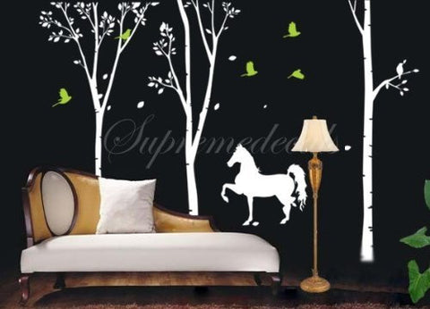 Custom PopDecals - Three Big Birch Trees(102 in) and Horse - Living Room - Beautiful Tree Wall Decals for Kids Rooms Teen Girls Boys Wallpaper Murals Sticker Wall Stickers Nursery Decor Nursery Decals - PopDecors,Home, PopDecals, PopDecors